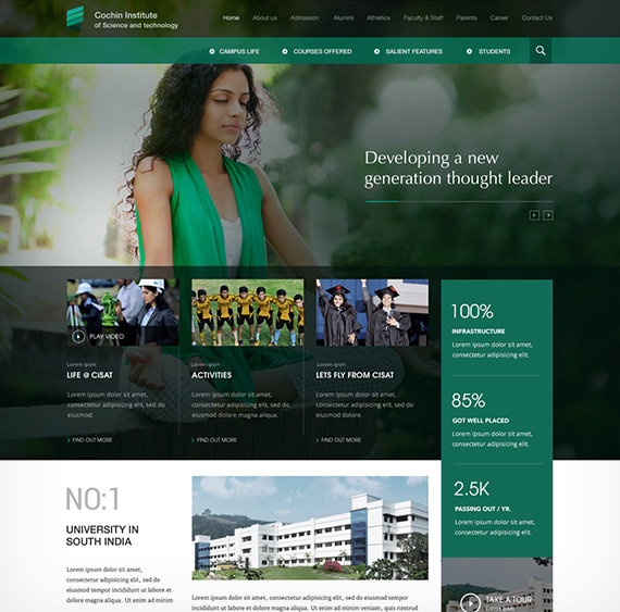 Website for Cochin Institute of Science & Technology