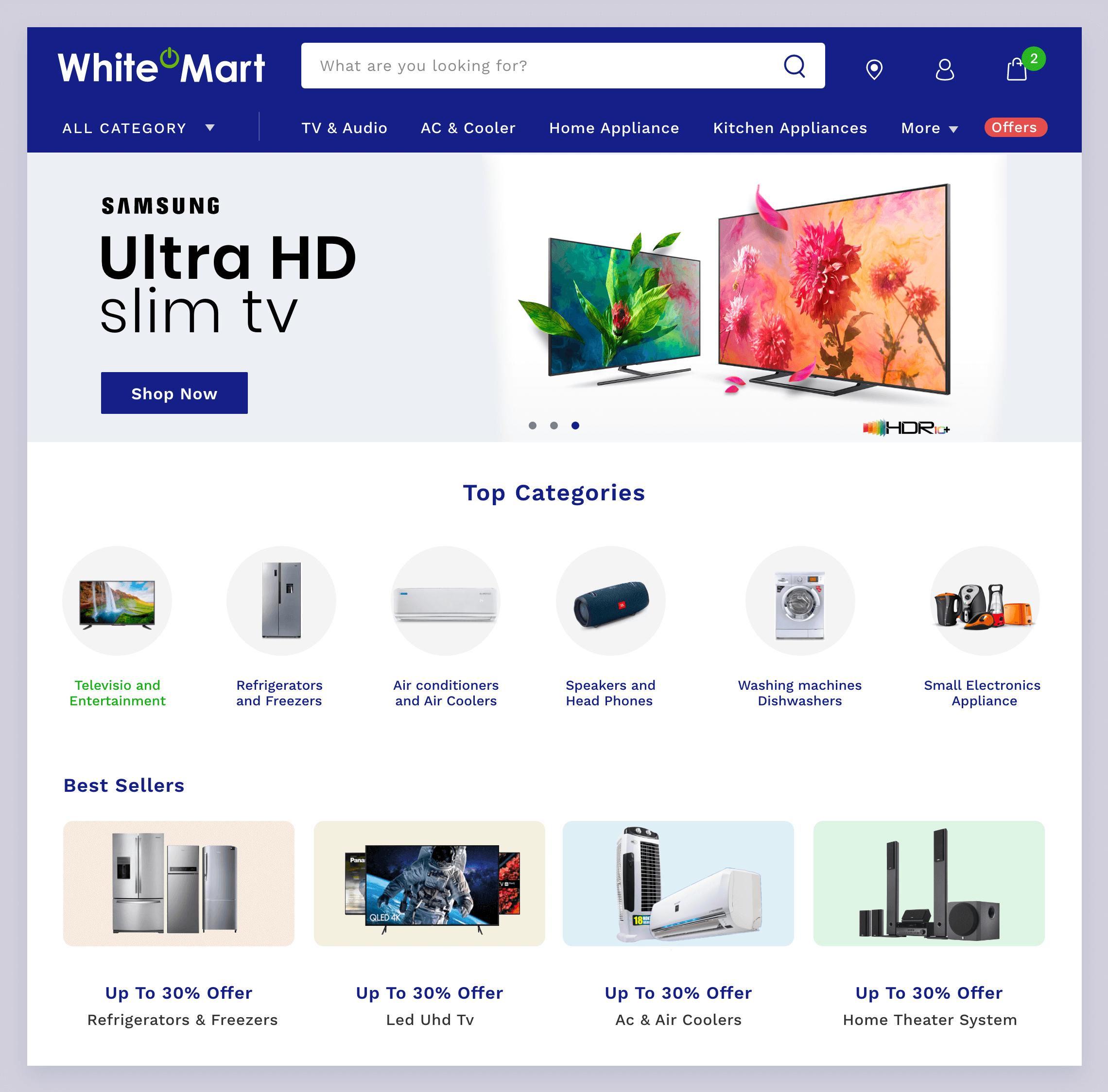 Ecommerce development of whitemart